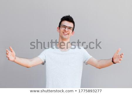 Сток-фото: человека · оружия · широкий · открытых · трава · счастливым