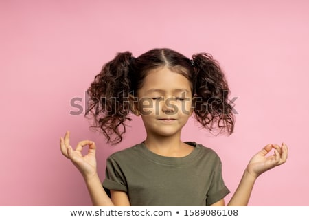 Little cute kid with pink hair and facial gesture Stock photo © zurijeta
