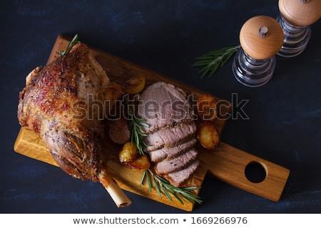 Foto stock: Cordeiro · em · batata · fundo · carne