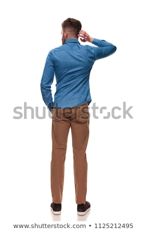 relaxed casual man holding the back of his neck stock photo © feedough