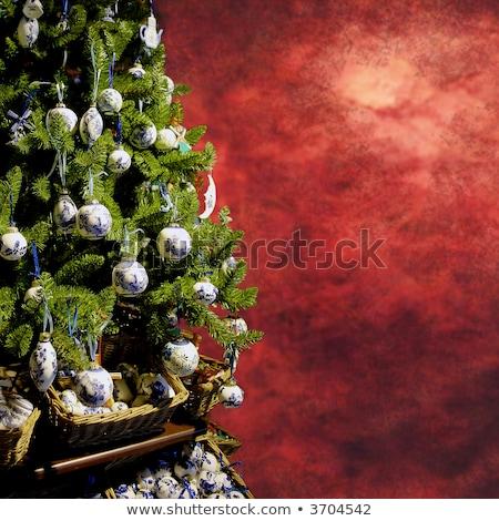 green christmas themed grungy background stock photo © swillskill