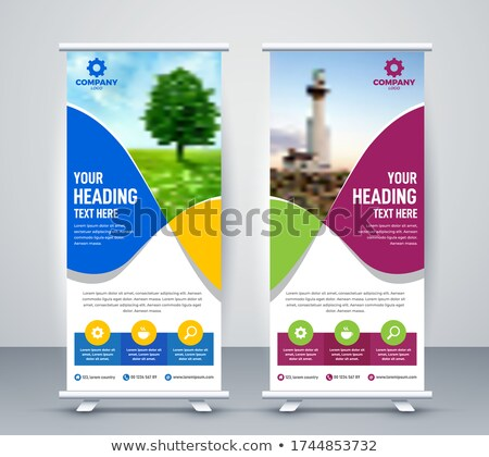 awesome blue trifold business brochure leaflet flyer design Stock photo © SArts