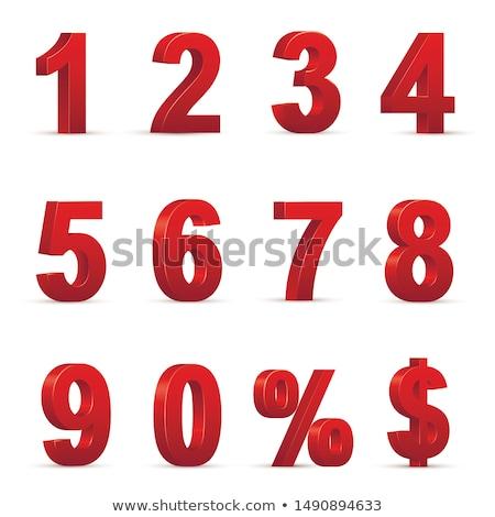 Czerwony zero procent podpisania odizolowany biały Zdjęcia stock © Oakozhan