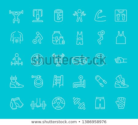 Colorful sport infographic elements. Sportsmen with kettlebells. Stock photo © masay256