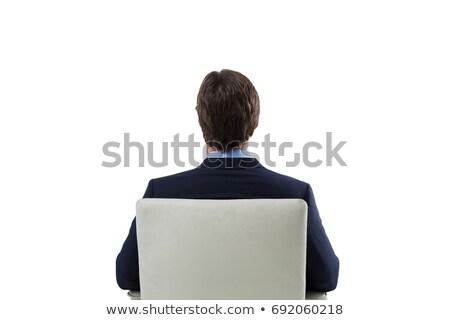 Férfi néz láthatatlan képernyő fehér hátsó nézet Stock fotó © wavebreak_media