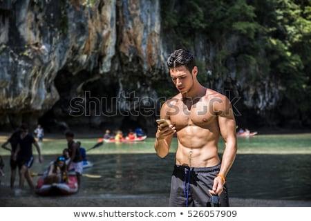 Knap topless jonge man buitenshuis gezichtshaar permanente Stockfoto © artfotodima