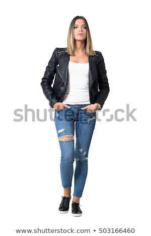 Full length portrait of a serious pretty girl standing Stock photo © deandrobot