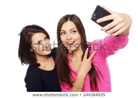 Girlfriends taking selfie picture with smartphone Stock photo © manaemedia