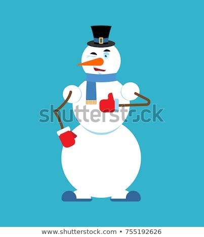 Sneeuwpop nieuwjaar christmas vector ziek Stockfoto © popaukropa