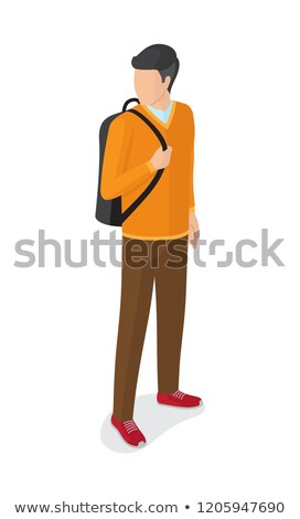 男 オレンジ セーター ブラウン ズボン ストックフォト © robuart
