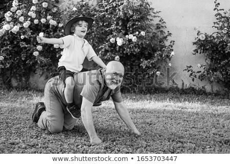 Kid Boy Father Piggy Back Ride Stock photo © lenm