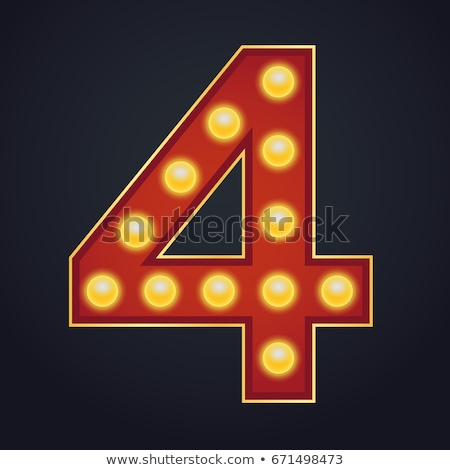 4 Number Vector. Four Font Marquee Light Sign. Realistic Retro Shine Lamp Bulb. 3D Electric Glowing  Stock photo © pikepicture