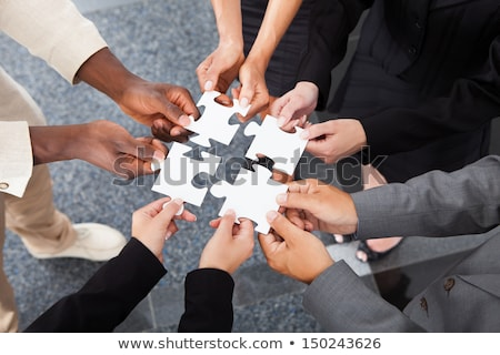 Group of business people hold jigsaw Stock photo © IS2