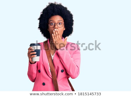 the woman is afraid and speaks. African-American people Stock photo © studiostoks
