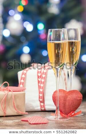 çift şampanya flüt şişe gümüş beyaz Stok fotoğraf © magraphics