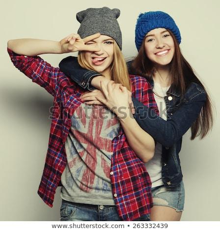 moda · estilo · quadro · amigos · jovem · grupo - foto stock © deandrobot