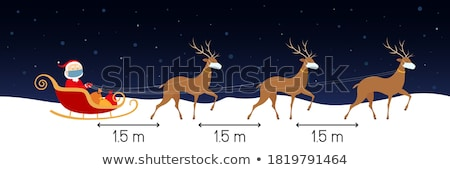 vector santa claus with reindeers stock photo © tele52