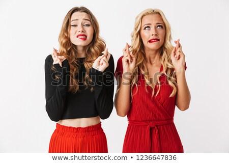 Nerveux jeunes deux filles amis Photo stock © deandrobot