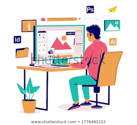 Stock photo: Vector isometric graphic designer workplace