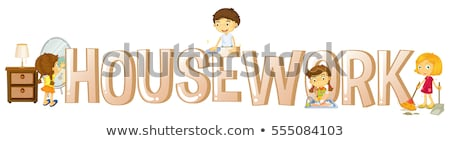 Doopvont ontwerp woord huishoudelijk werk kinderen Stockfoto © colematt