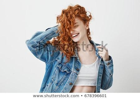 Kręcone włosy teen girl portret posiedzenia sofa dziewczyna Zdjęcia stock © boggy