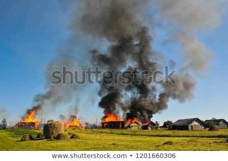 Köy yangın örnek ev şehir arka plan Stok fotoğraf © bluering