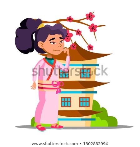 азиатских девушки сакура дома вектора изолированный Сток-фото © pikepicture
