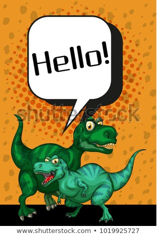 Two T-Rex saying hello on poster Stock photo © colematt