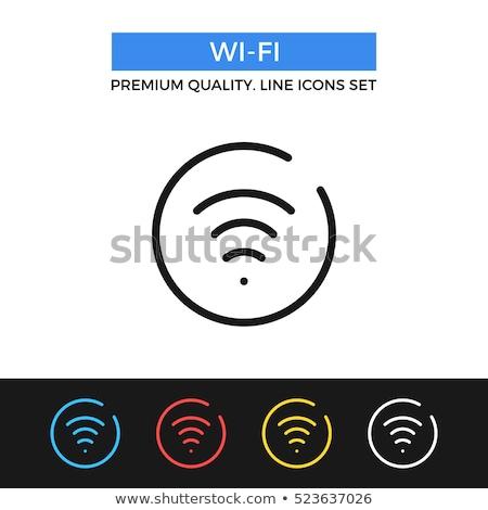ストックフォト: 無線lan · 単純な · アイコン · 青 · サークル · ワイヤレス