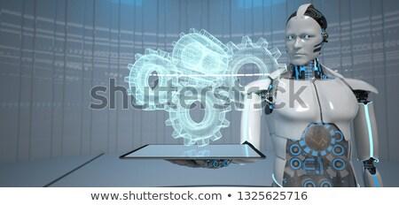 Insansı robot dişli tekerlekler dijital Stok fotoğraf © limbi007