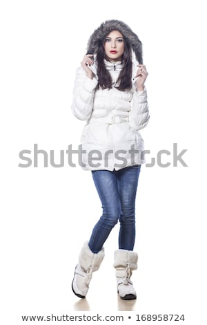 Pretty girl in blue winter jacket isolated on white Zdjęcia stock © Elnur