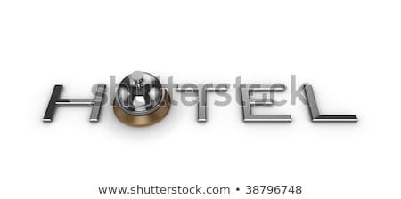 Silber besetzt Glocke Service Text 3D Stock foto © djmilic