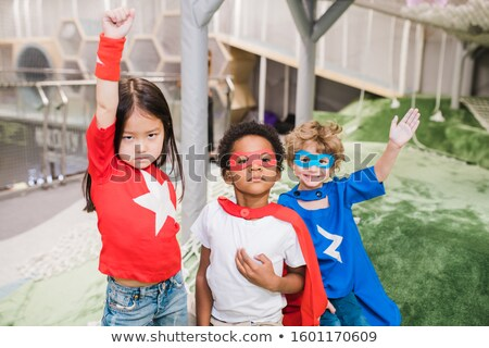 Grup süper kahraman oyun alanı örnek kız çocuklar Stok fotoğraf © bluering