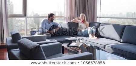 リラックス 夫 小さな 好色な 女性 見える ストックフォト © pressmaster