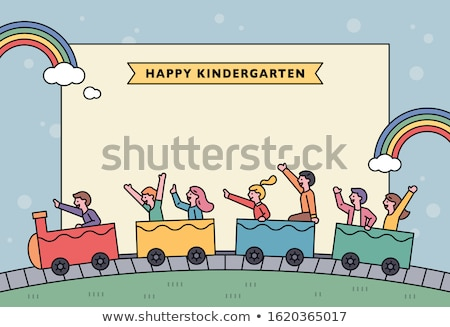 ストックフォト: 漫画 · 子供 · 巨大な · グループ · 実例 · 幸せ