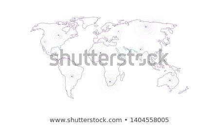 vector linear world map with location radial marker editable stroke vector illustration isolated o stock photo © kyryloff