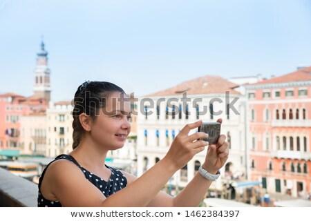 Kadın fotoğrafları cep telefonu Venedik genç kadın Stok fotoğraf © AndreyPopov