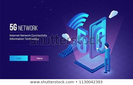 Hálózat leszállás oldal pici üzletemberek mobil Stock fotó © RAStudio