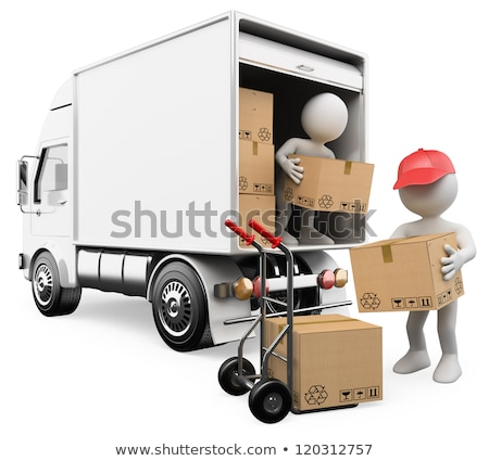 3d white people worker unloading boxes from a truck stock photo © texelart