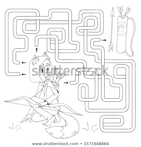 лучник мальчика красочный контуры изолированный белый Сток-фото © cidepix
