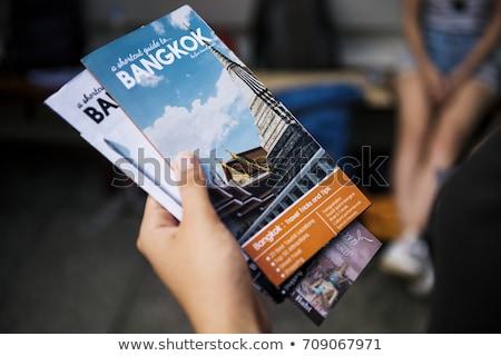 Rehberlik Bangkok kitap duvar tapınak mavi Stok fotoğraf © galitskaya