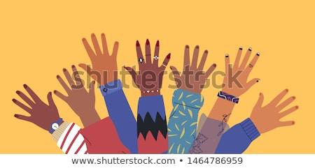 Różnorodny młodych ludzi przyjaciela ręce wraz Zdjęcia stock © cienpies