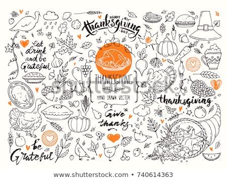 boldog · hálaadás · kézzel · rajzolt · rajz · firkák · illusztráció - stock fotó © balabolka