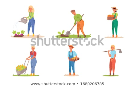 Farmers working hay harvesting vector flat styles Stock photo © frimufilms