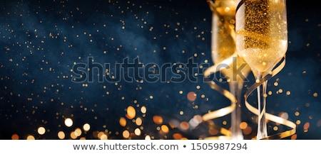 Nowy rok złota blask szampana toast karty Zdjęcia stock © cienpies