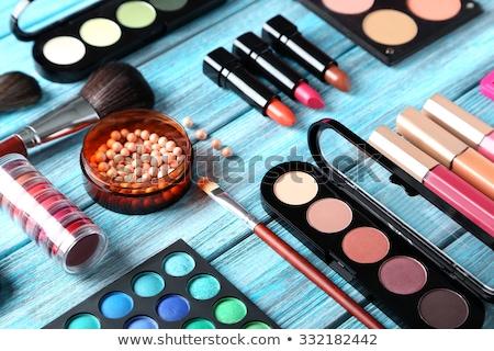 Szemhéjfesték paletta sminkecset bőrpír rózsaszín kozmetikai Stock fotó © Anneleven