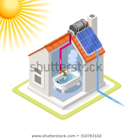 providing solar panels for residential buildings icon vector outline illustration Stock photo © pikepicture
