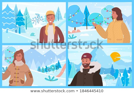 Men Posing in Warm Clothes, Set of Four Pictures Stock photo © robuart