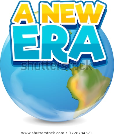 Font design for word a new era and earth on white background Stock photo © bluering