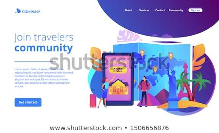 Vendégszeretet utazás leszállás oldal turista ügynökség Stock fotó © RAStudio
